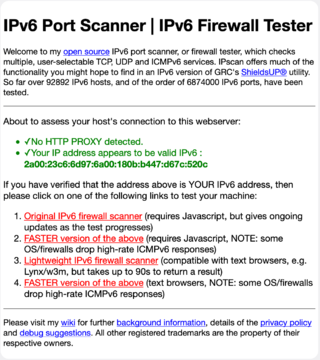 IPv6 Port Scanner (Firewall tester) landing page viewed using Firefox. See https://ipv6.chappell-family.com/ipv6tcptest/